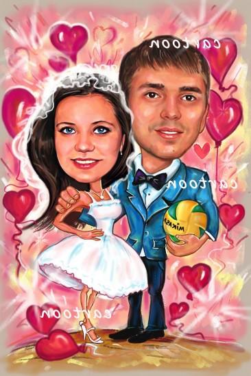 Свадебный шарж с оригинальным сюжетом в Кишеневе!