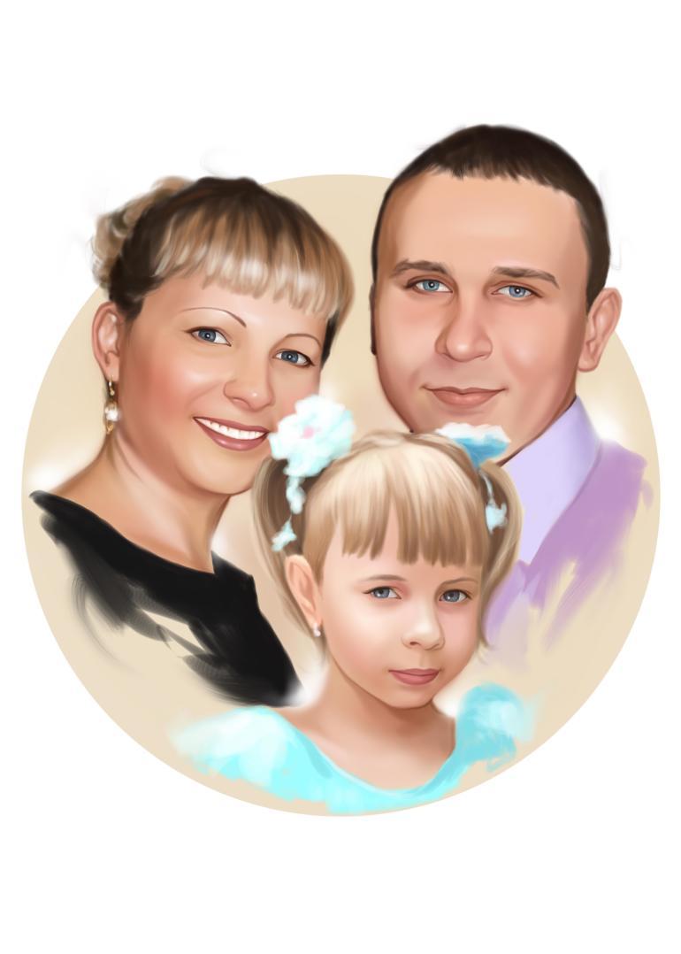 Семейный портрет по фото на холсте в Кишеневе — правильный подарок!
