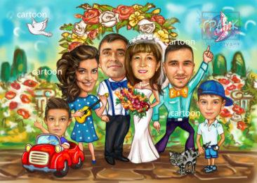 Шарж по фото на годовщину свадьбы на заказ в Кишеневе…